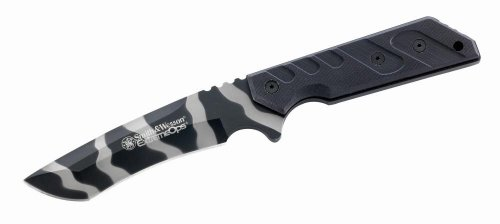 Smith & Wesson Sw6 Extreme Ops Knife With Tanto Recurve Blade G10 Handle And Sheath, Urban Camo