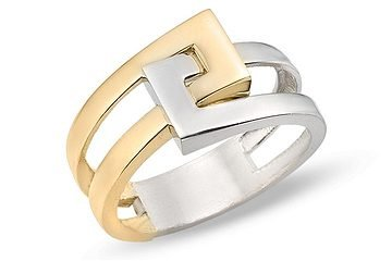 14K White and Yellow Gold Geometric Ring