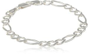Sterling Silver Open Figaro Chain Bracelet, 7