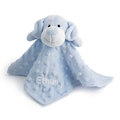 Personalized, Embroidered Stuffed Blue Puppy Blanket front-465285
