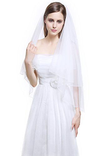 MISSYDRESS 2T Fingertip Wedding Bridal Veil Pencil Edge with Comb-V38 White