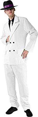 Men's Gangster Suit Costume, White