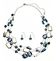 M&S Collection Multi-Strand 3 Row Shell Necklace & Earrings Set
