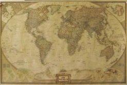 オシャレな インテリアに アンティーク風 世界地図 71×46.5cm