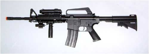 Airsoft M16-A4 Spring Rifle W/Laser, LED ILLUMINATOR NEW SR-5207