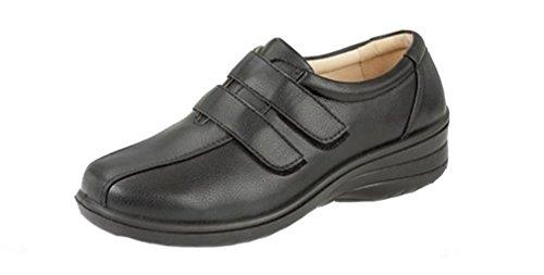 donna-boulevard-velcro-comodo-lavoro-ufficio-scarpe-scarpe-nero-black-40