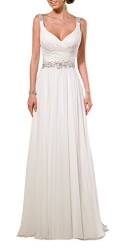 Harshori V Neck Shoulder Straps Soft Ruching Chiffon Wedding Gown 16