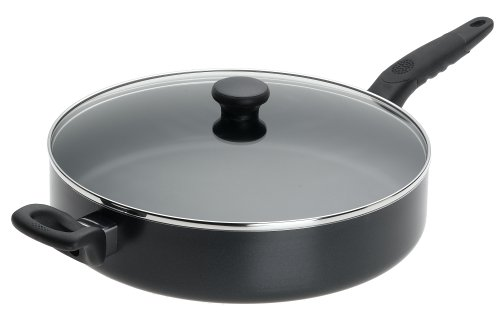 Mirro A7978284 Get A Grip Aluminum Nonstick 12-Inch Jumbo Cooker Deep Fry Pan / Saute Pan with Glass Lid Cover Cookware