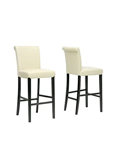 Baxton Studio Set of 2 Bianca Modern Bar Stools, Cream