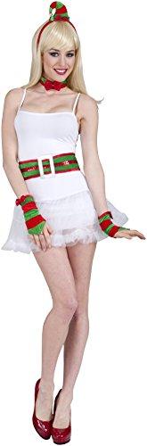 Forum Novelties Women's Flirty Santa Elf Costume Kit, Red/Green, One Size