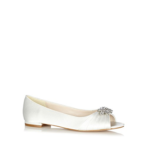 No. 1 <strong>Jenny Packham Womens Designer Ivory Diamante Leaf Pumps