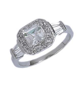 Sterling Silver Engagement Ring with Cubic Zirconia - Size: 6-9, 9