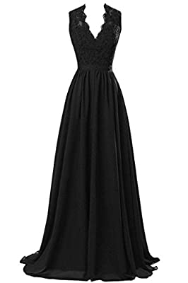 R&J Women's V-neck Open Back Lace Chiffon Formal Evening Party Dress