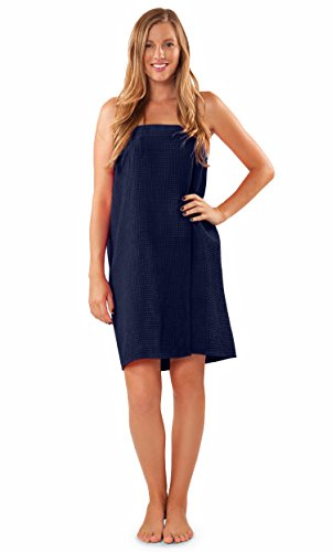 Lightweight bridesmaids spa/bath waffle Velcro wrap (Navy Blue)