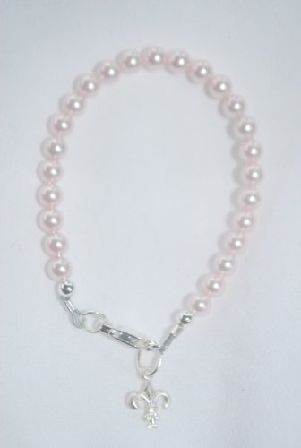 Sterling Silver Pink Pearl Girls Bracelet with Dangling Fleur De Lis Charm Size 6