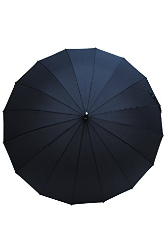 "COLLAR AND CUFFS LONDON - Stockschirm - EXTRA STARK - 16 Stangen - ""StormProtector MegaRibs"" - Schadenfest gegen Überschlagschaden - Automatik - Rutschfeste Griff - Regenschirm - Schwarz"