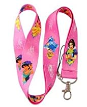 New Pink Disney Princess Lanyard Key Chain Holder