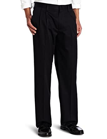 Dockers Men's Dockers Never Iron Essential D3 Classic Fit Pleat Pant, Curry Stripe Black, 30x30