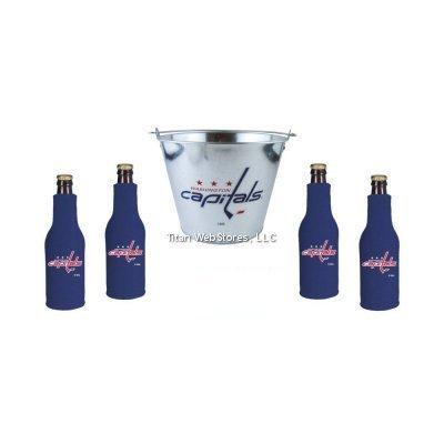 NHL Capitals Galvanized Beer Pail & Bottle Suit (4) Set | Washington Capitals Coozie & Bucket Gift Set (Washington Capitals Beer Koozie compare prices)