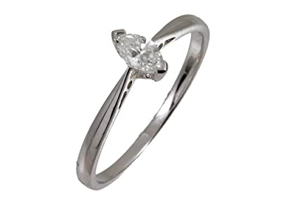 Ariel Ladies Engagement Ring, 9ct White Gold with Marquise Solitaire Diamond, 1/4 Carat Diamond Weight