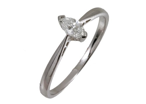 9ct White Gold Diamond Engagement Ring With Marquise Diamond Solitaire, 1/4 Carat Diamond Weight
