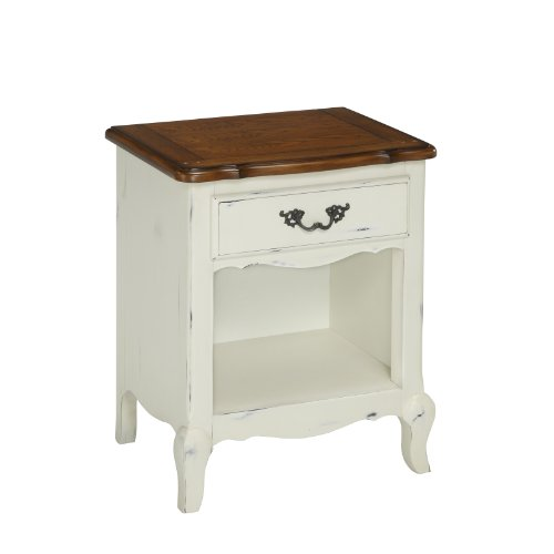 Home Styles 5518-42 The French Countryside Night Stand, Oak/Rubbed White front-286015