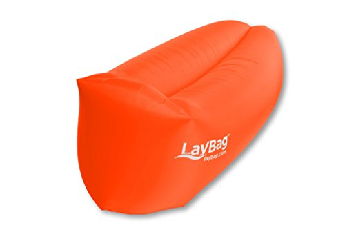 LayBagTM - THE ORIGINAL. Inflatable Air Lounge | Ultra lightweight, super strong Ripstop Nylon. Easy inflatable. Extremely comfortable. (Orange)