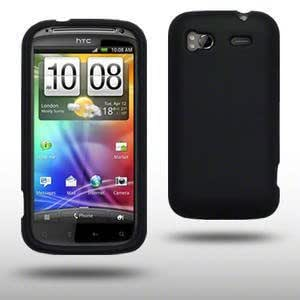 Accessories Online - Black Rubber Silicone Case / Cover / Shell / Skin - for HTC Sensation