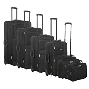 Dunlop 6 Piece Wheeled Suitcase Set Black 6pc Nest