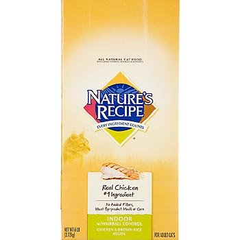 Image of Nature's Recipe Indoor with Hairball Control Chicken & Brown Rice Active Adult Cat Food, 6 lbs.