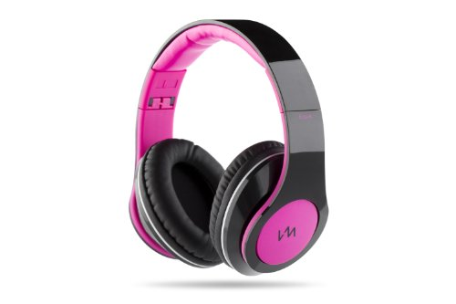 Vm Audio Elux Over Ear Dj Stereo Mp3 Iphone Bass Headphones - Piano Black/Pink