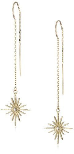 Mizuki 14k Gold and Diamond Sunburst Chain Earrings