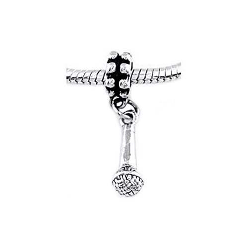 Sterling Silver Three Dimensional Microphone Dangle Bead Charm