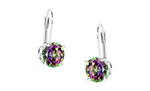 Women-Sterling-Silver-6MM-Round-Stud-Lever-Back-Earrings