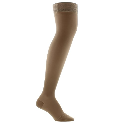 Ames Walker Women's AW Style 4 Sheer Support Closed Toe Compression Thigh High Stockings w/ Lace Band - 15-20 mmHg Nude Medium 4-M-NUDE Nylon/Spandex