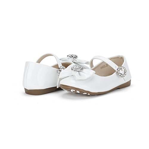 06. Dream Pairs ANGELS Mary Jane Bow Rhinestone/Pearls Embelishment Throughout Velcro Walker Ballerina Flat