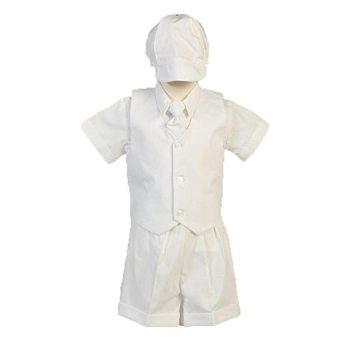 Lito Baby Boys White Poly Cotton Vest Hat Shorts Christening Outfit Set 0-24M