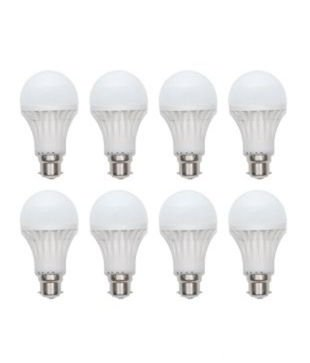 9W Virgin Plastic B22 LED Bulb (White, Pack Of 8)