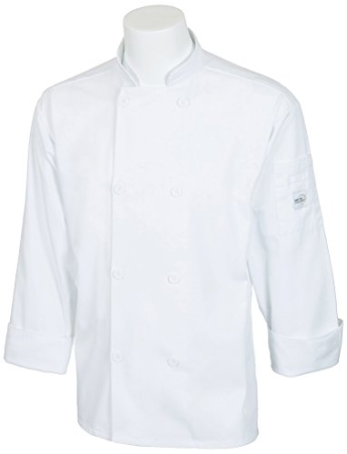 Mercer Culinary M60010WH2X Millennia Unisex Cook Jacket with Mercer Logo Buttons, XX-Large, White