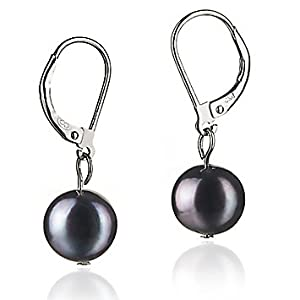 PearlsOnly Kaitlyn Black 8-9mm A Freshwater Pearl Earring Set
