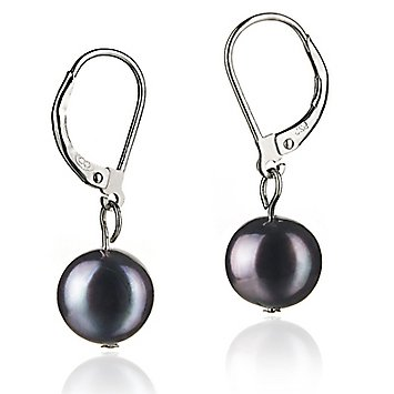 PearlsOnly Kaitlyn Black 8.0-8.5 mm A Freshwater Cultured Pearl Earring Set: PearlsOnly: Jewelry