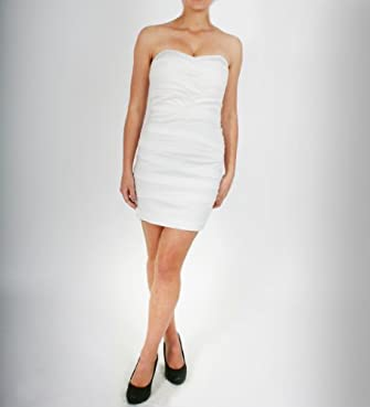 A & Co. Satin Pleats Tube Dress in White