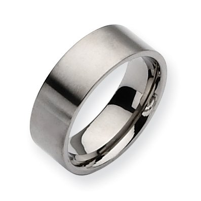 Titanium Flat 8mm Brushed Band, Size 9