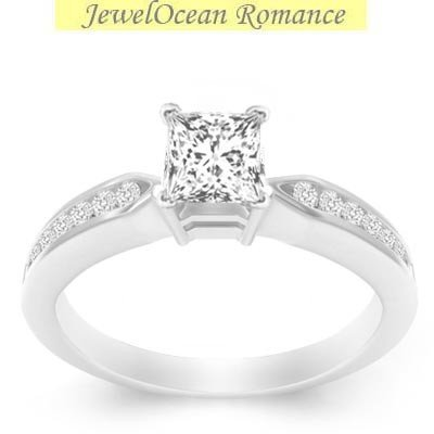 0.58 Carat Cheap Diamond Ring with Princess cut Diamond on 18K White gold