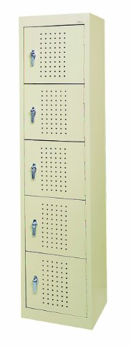 Sandusky LF55151866 22 Gauge Welded Steel Five Tier Storage Locker, 15″ Width x 66″ Height x 18″ Depth, Putty