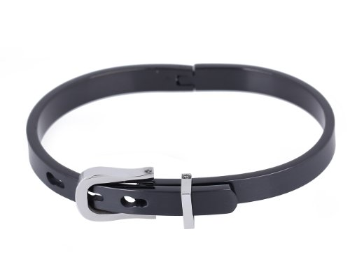 Unisex Titanium Steel Bracelet Belt Buckle Bangle (Model: Sl010087) (Black)