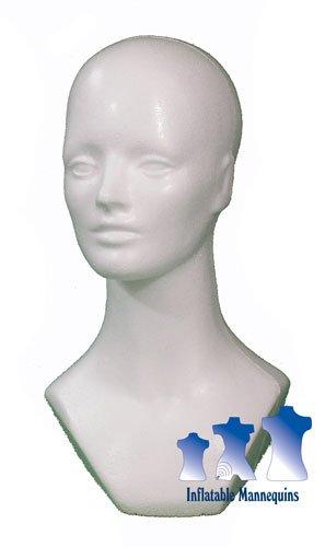 Female Head with Neckline, Styrofoam White