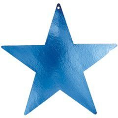 "Amscan Boys Cool Foil Star Five Pack Party Cutouts, 15"", Blue"