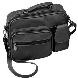 Roma Genuine Black Leather Organizer Bag Handbag Purse