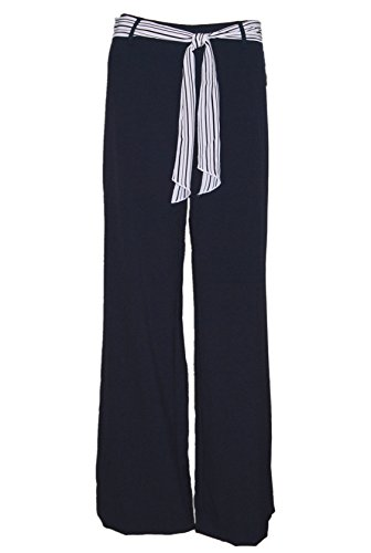 Ellen Tracy Wide Leg Dress Pant with Sash Navy